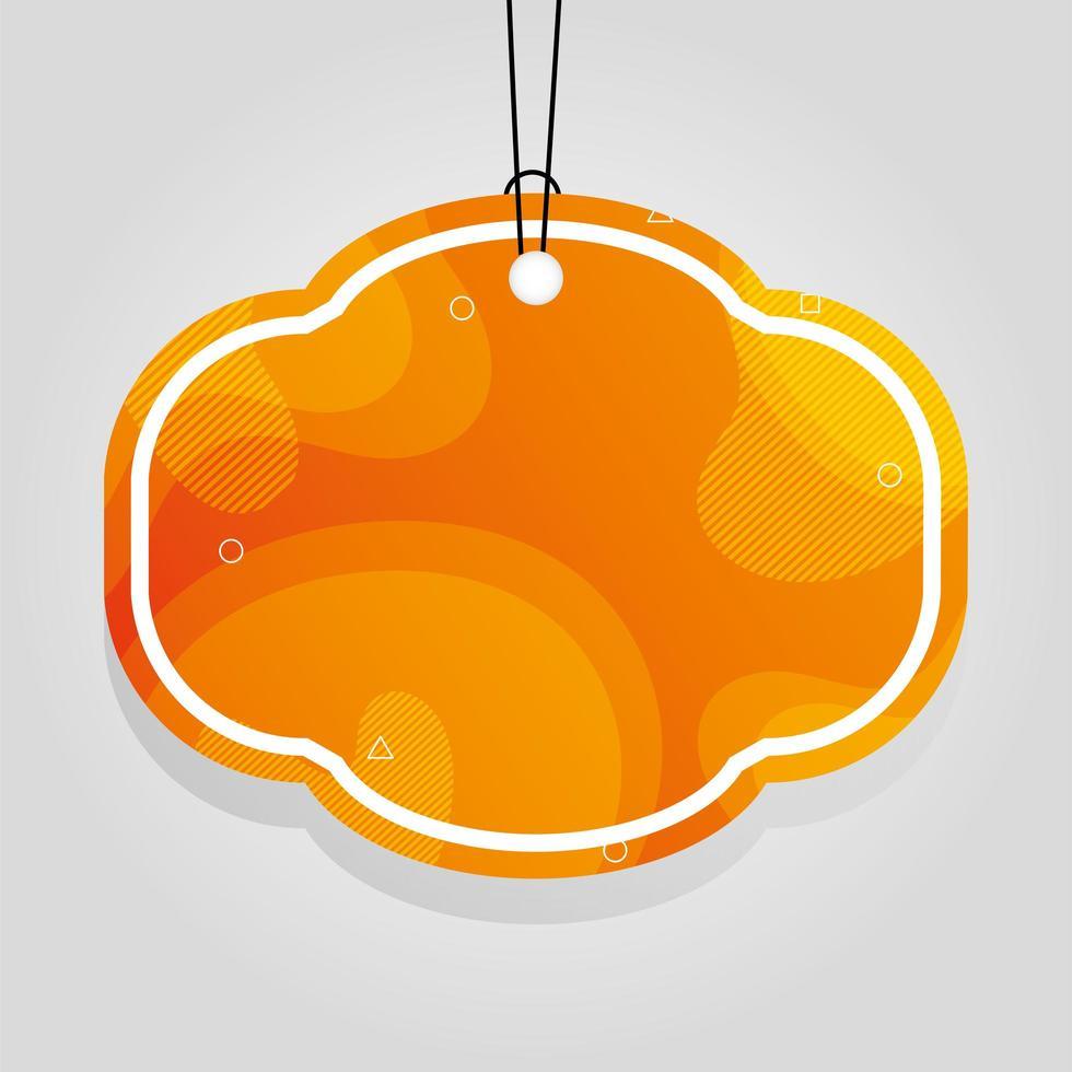 étiquette commerciale orange avec des couleurs vives vecteur