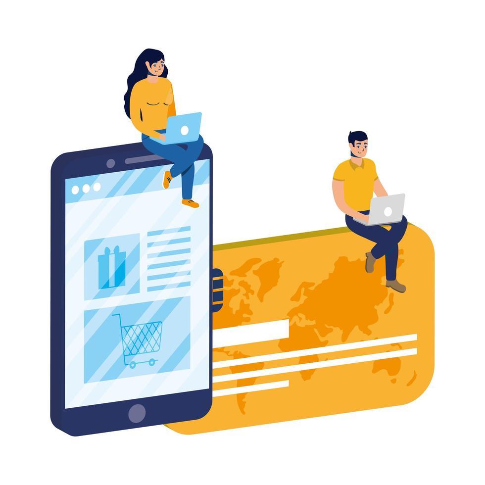 commerce électronique en ligne avec un couple utilisant un ordinateur portable et un smartphone vecteur