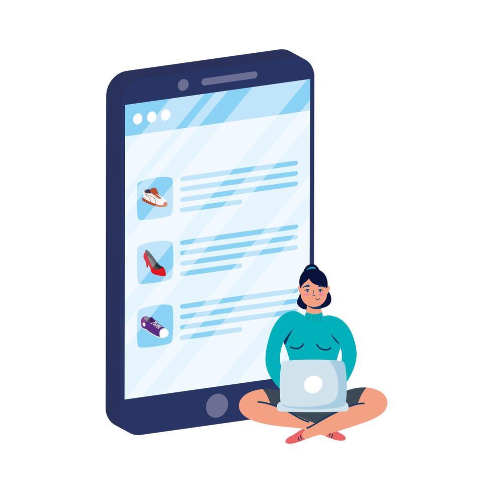 commerce électronique en ligne avec femme utilisant un ordinateur portable et un smartphone vecteur