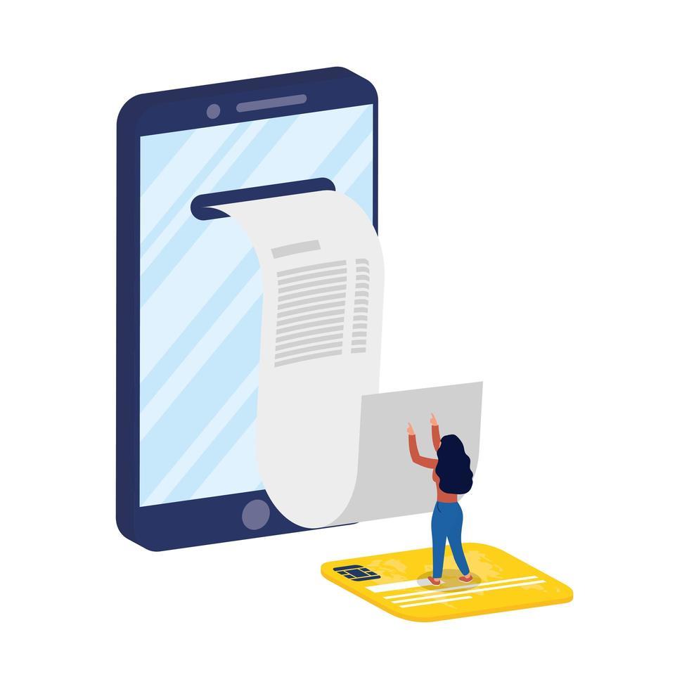commerce électronique en ligne avec femme utilisant un smartphone et une carte de crédit vecteur