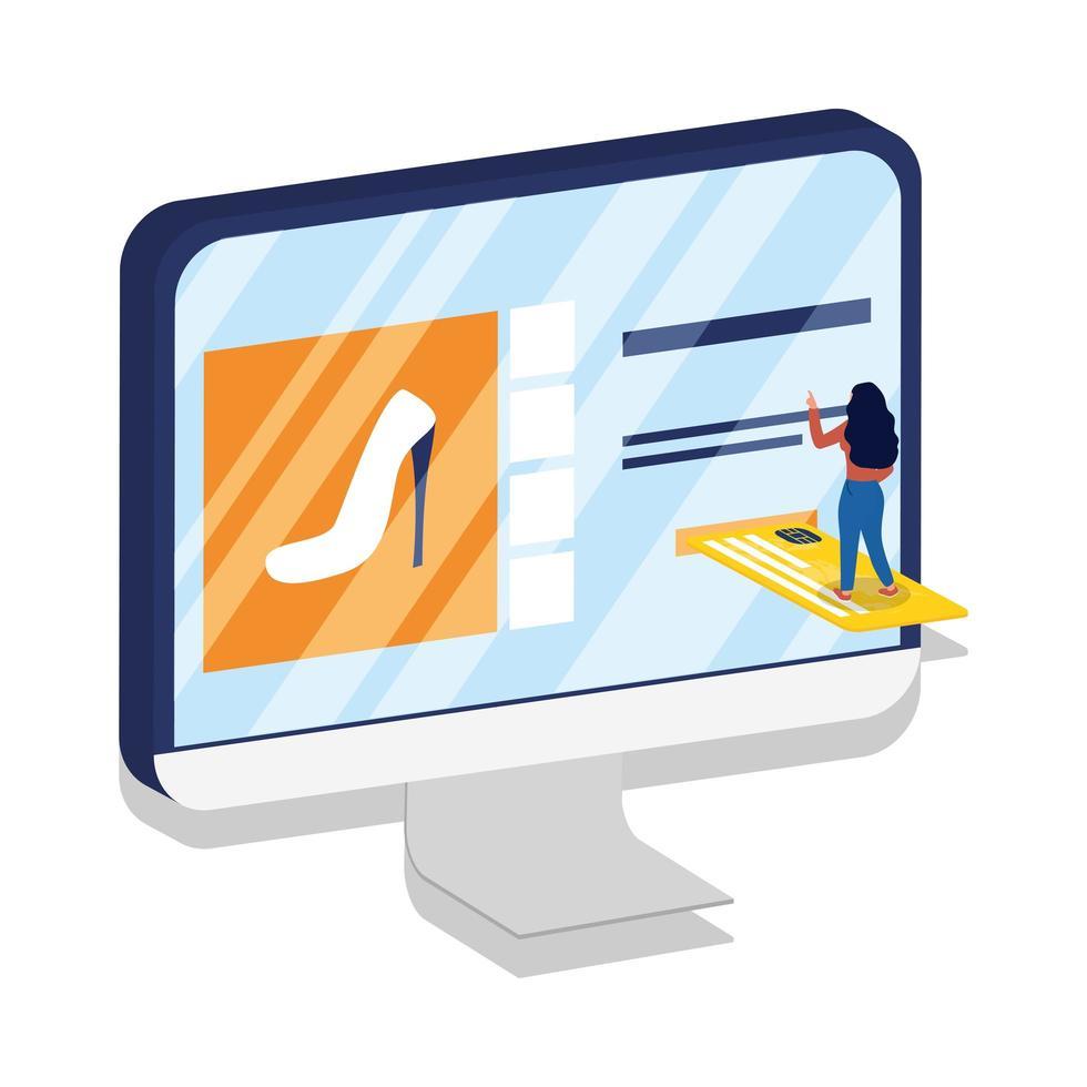 commerce électronique en ligne avec une femme utilisant un ordinateur de bureau et une carte de crédit vecteur