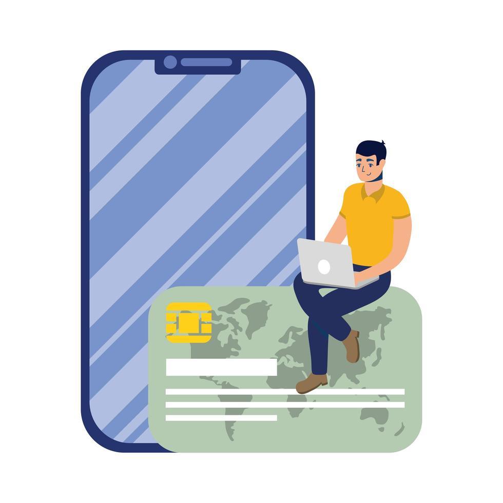 commerce électronique en ligne avec un homme utilisant un ordinateur portable et un smartphone vecteur