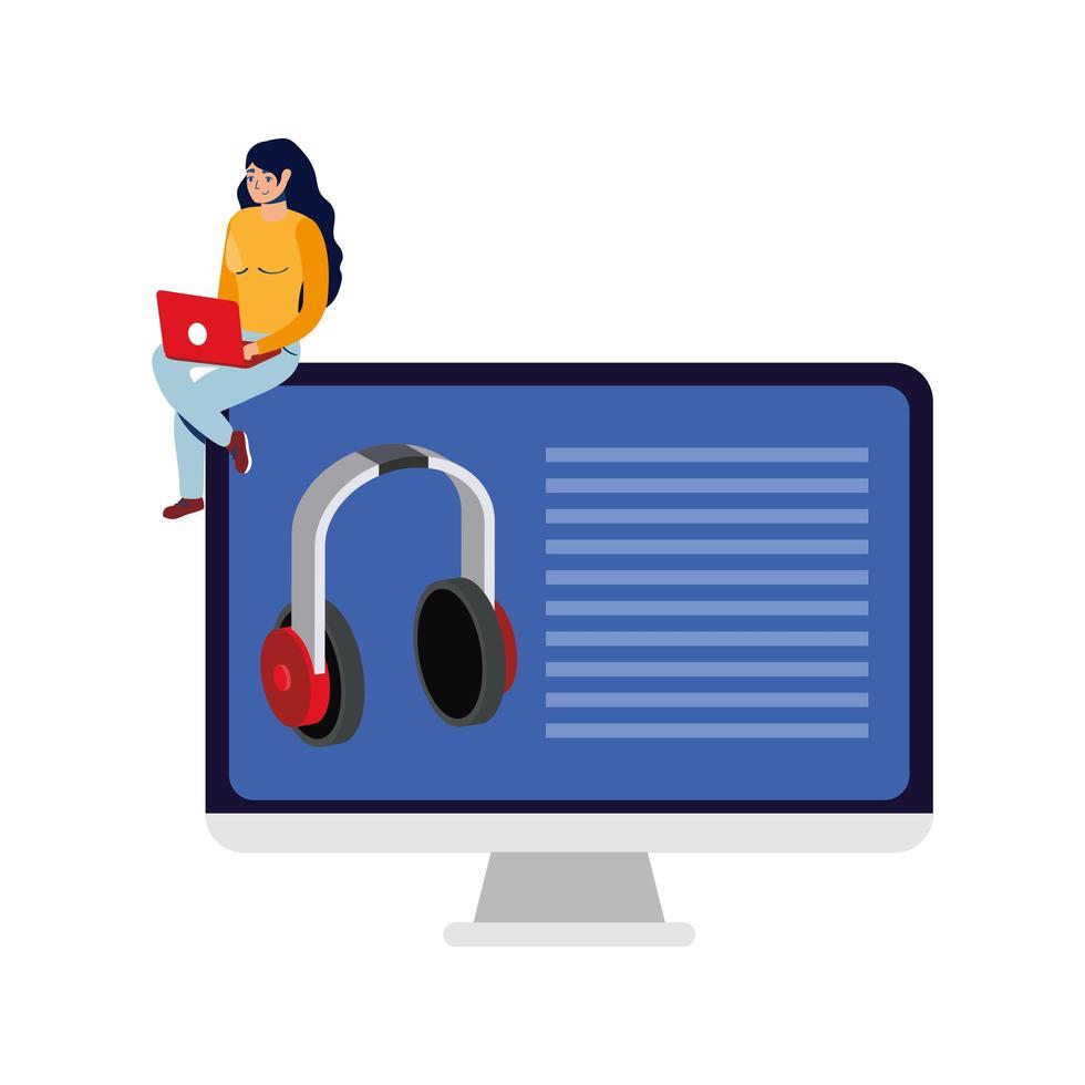 commerce électronique en ligne avec une femme utilisant un ordinateur portable et un ordinateur de bureau vecteur