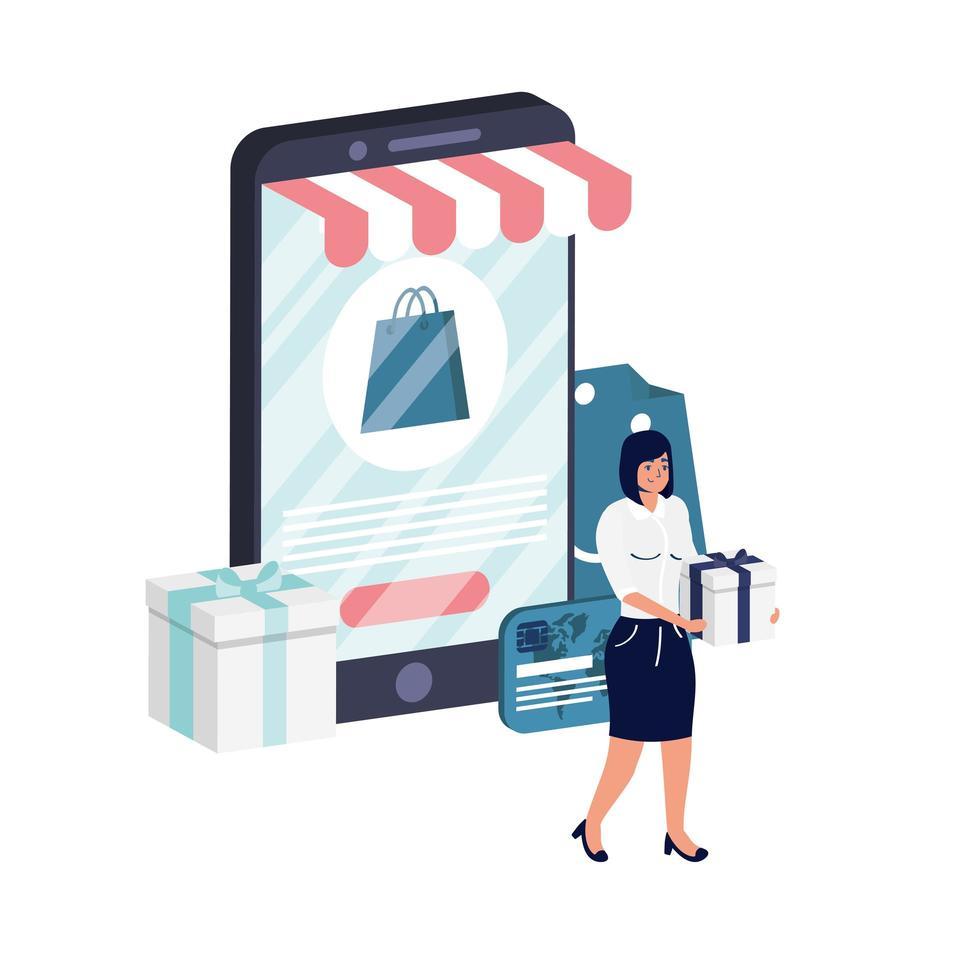 commerce électronique en ligne avec femme utilisant un smartphone vecteur