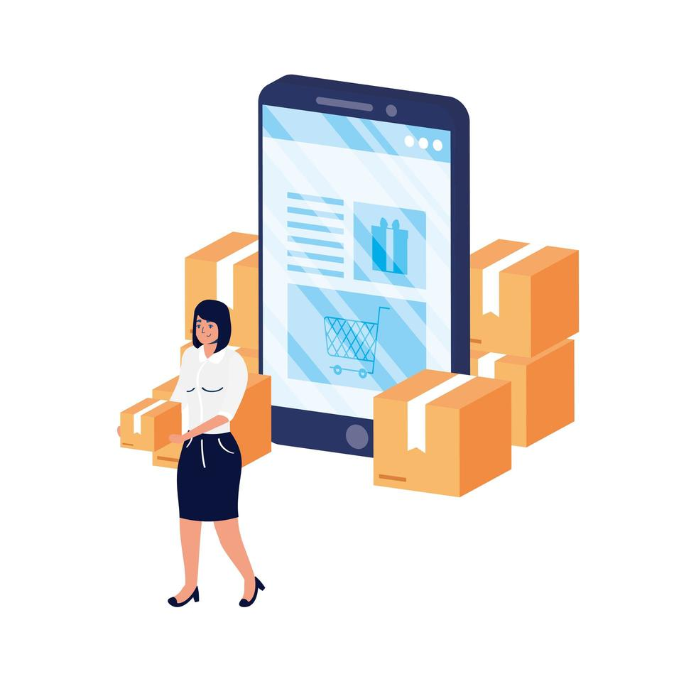 commerce électronique en ligne avec une femme utilisant un smartphone et des boîtes vecteur