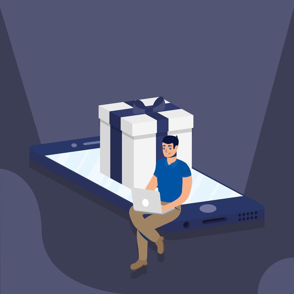 shopping en ligne avec un homme utilisant un ordinateur portable et un cadeau dans un smartphone vecteur
