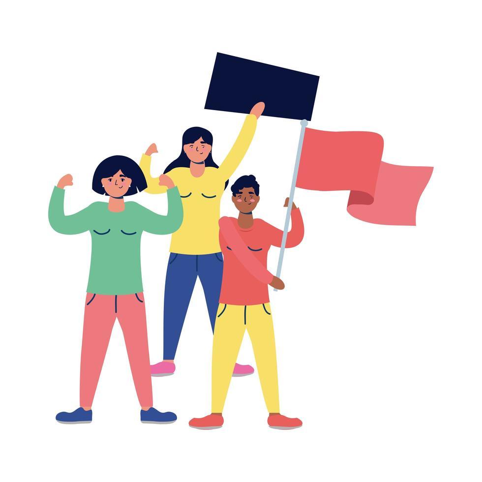 femmes interraciales protestant avec des drapeaux et une pancarte vecteur
