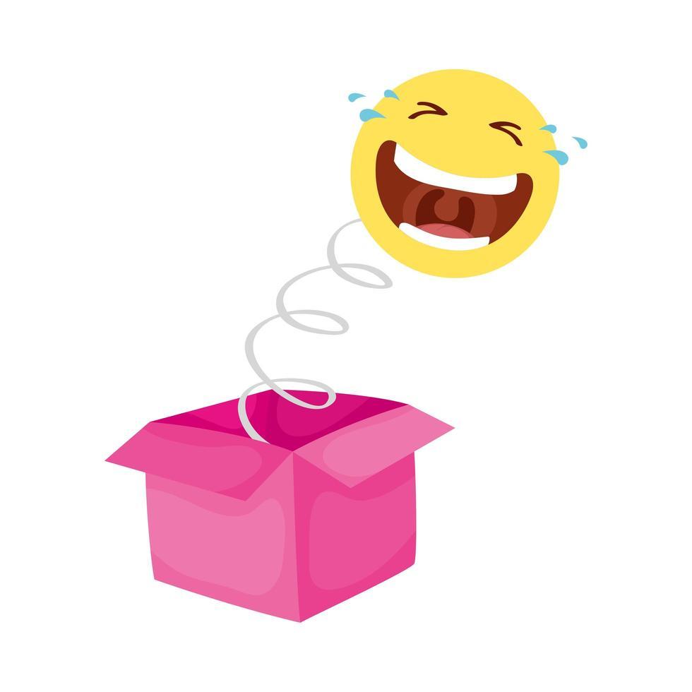 visage fou emoji dans la boîte surprise fools day vecteur