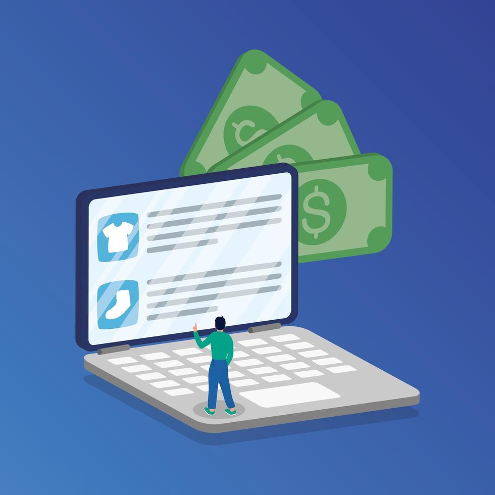 shopping en ligne avec un homme dans un ordinateur portable et de l'argent vecteur
