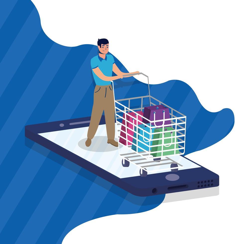 shopping en ligne avec achat homme et smartphone vecteur