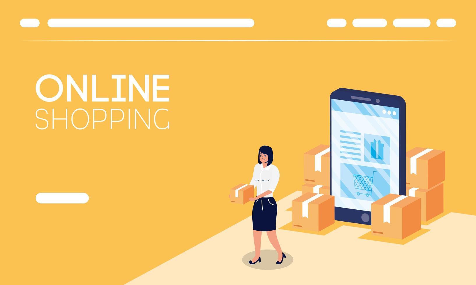 faire des achats en ligne avec une femme soulevant des boîtes et un smartphone vecteur