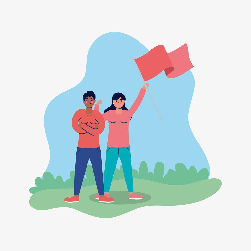 couple fort interracial protestant avec drapeau vecteur