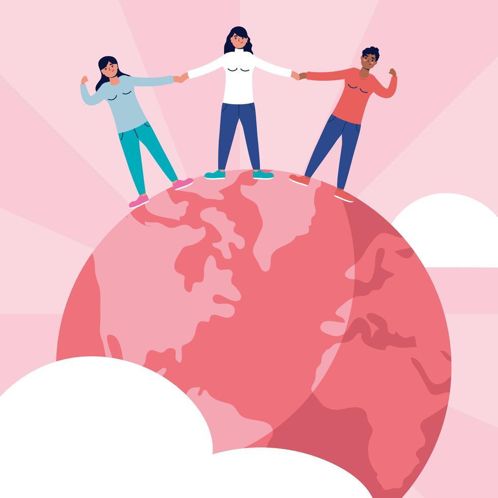 Groupe de jeunes femmes interraciales sur la planète terre vecteur
