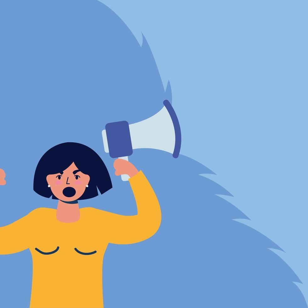 jeune femme protestant avec mégaphone vecteur