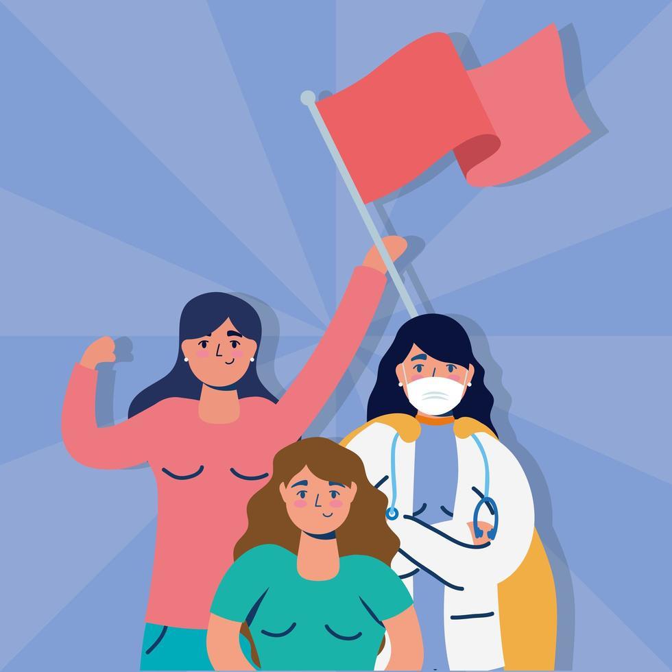 femmes interraciales protestant avec des drapeaux vecteur