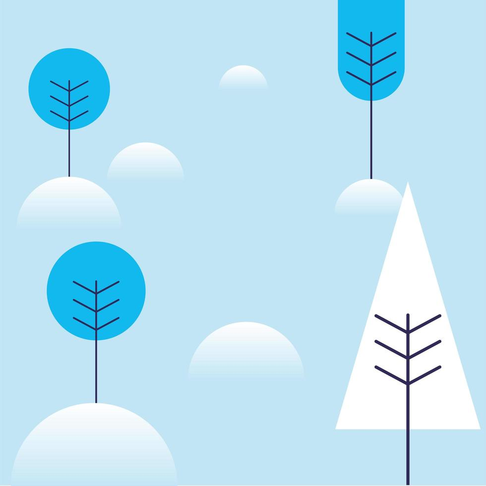 arbres d & # 39; hiver avec conception de vecteur de neige