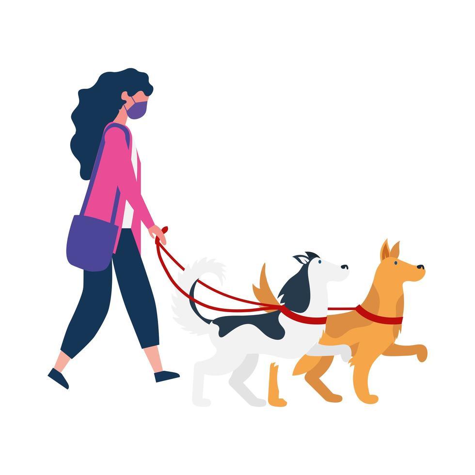 femme avec masque médical et conception de vecteur de chiens