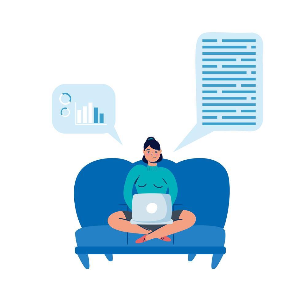 femme avec ordinateur portable sur canapé avec conception de vecteur de bulles