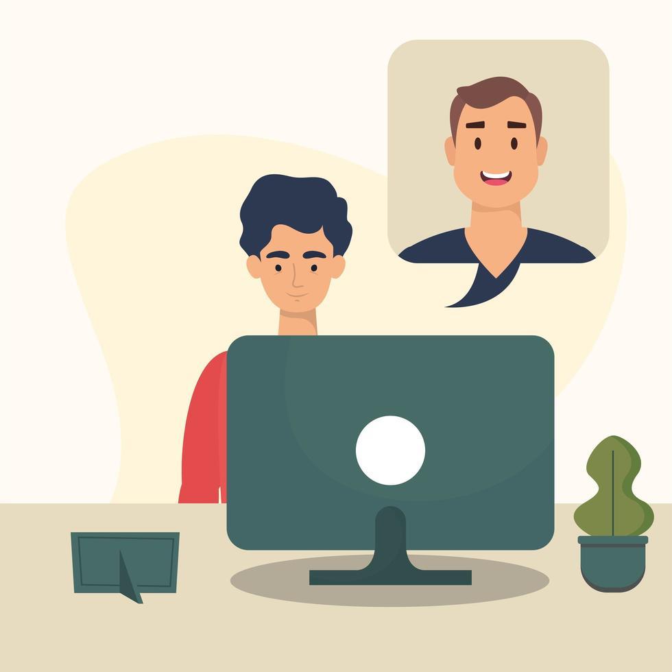 homme avec ordinateur sur la conception de vecteur de bureau