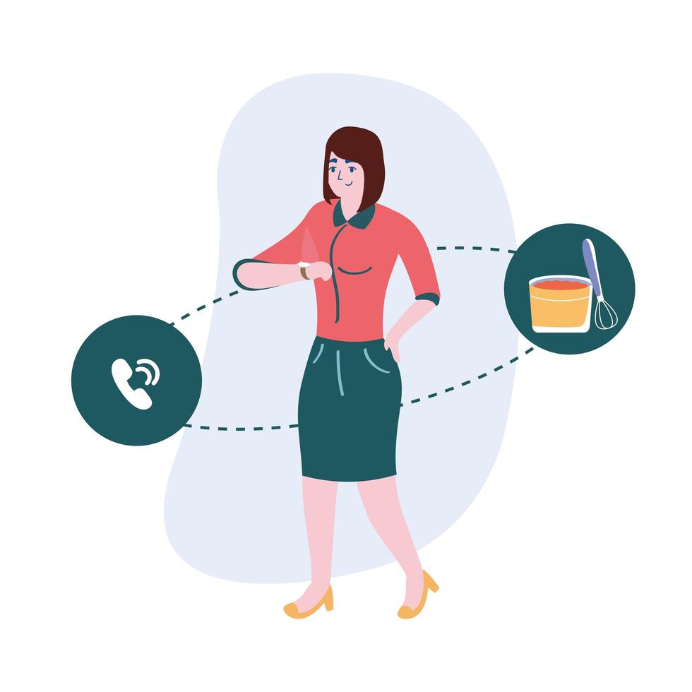 femme avec bol de cuisson de téléphone et conception de vecteur de mélangeur