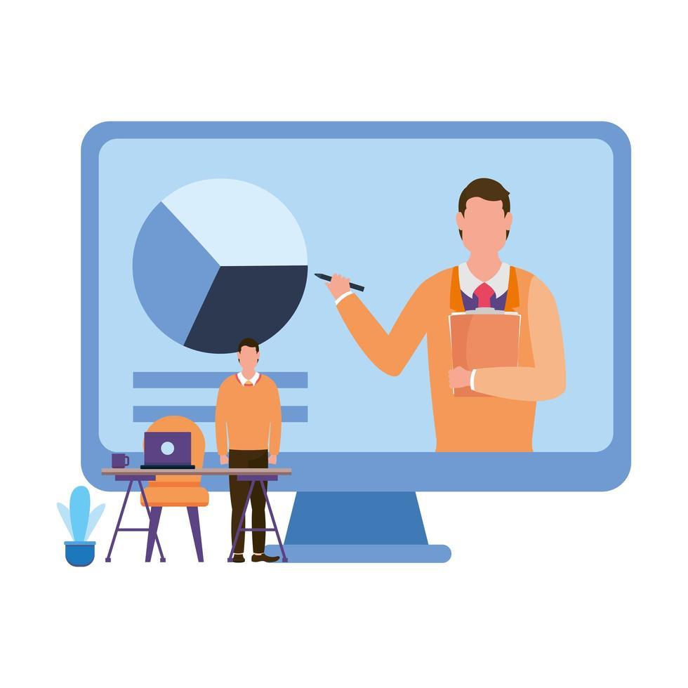 homme sur ordinateur avec camembert et conception de vecteur de bureau