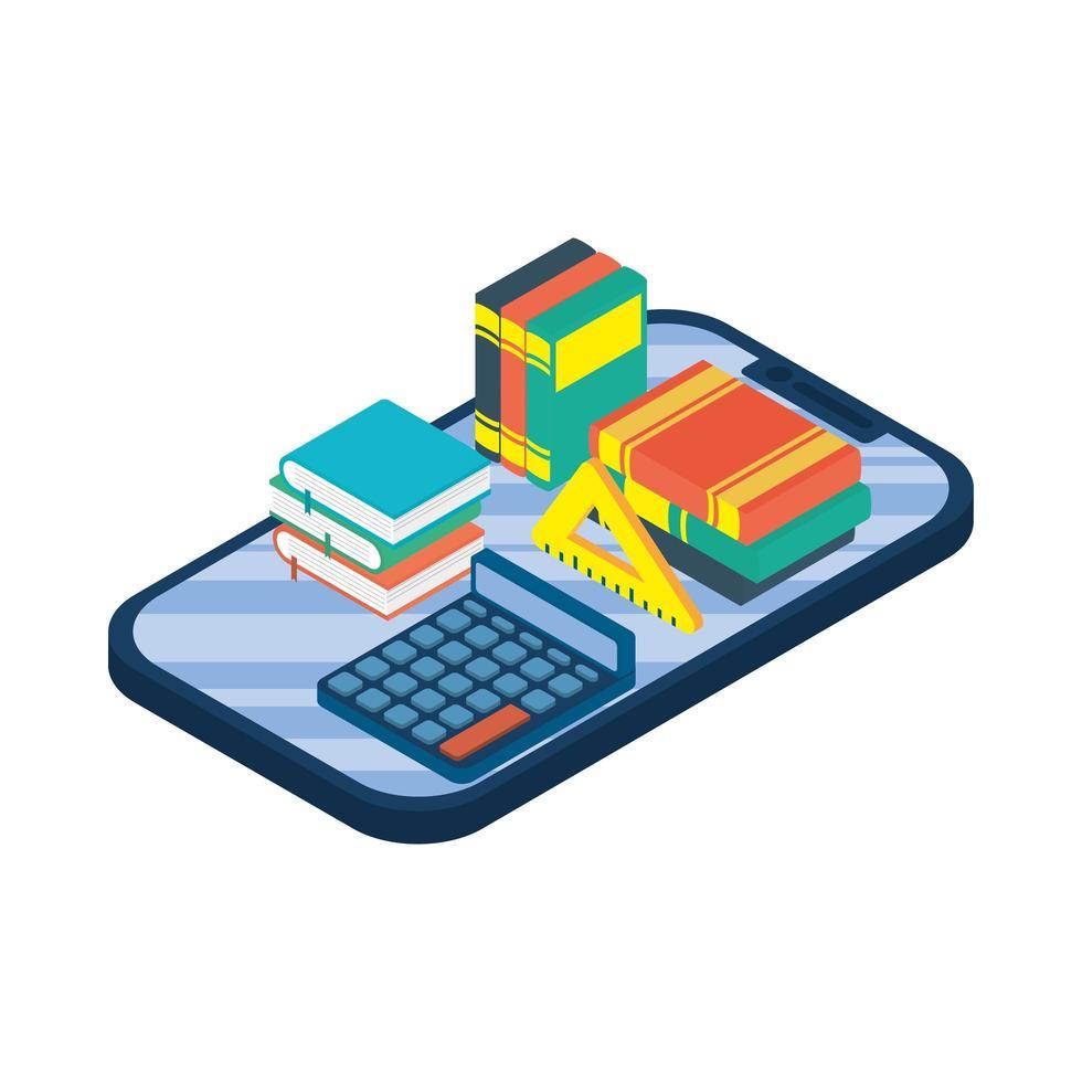 tablette électronique avec ebook et calculatrice vecteur