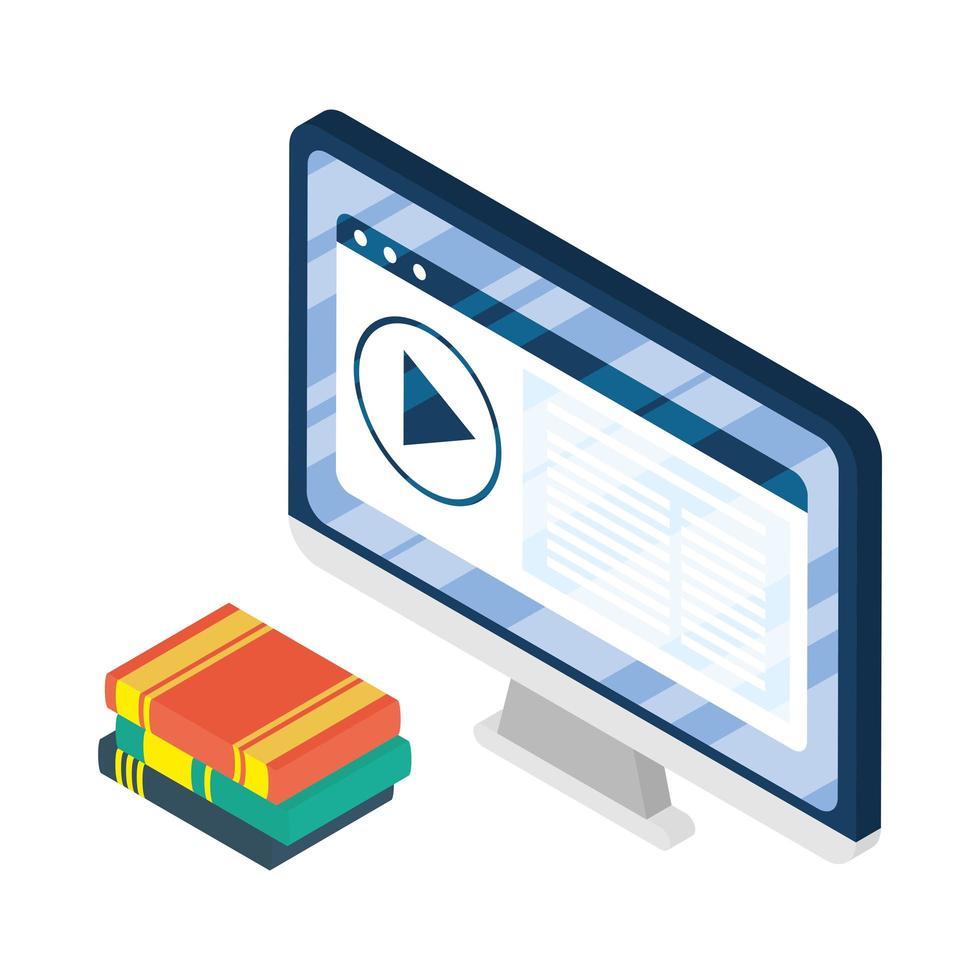 appareil électronique de bureau avec livres e-learning vecteur