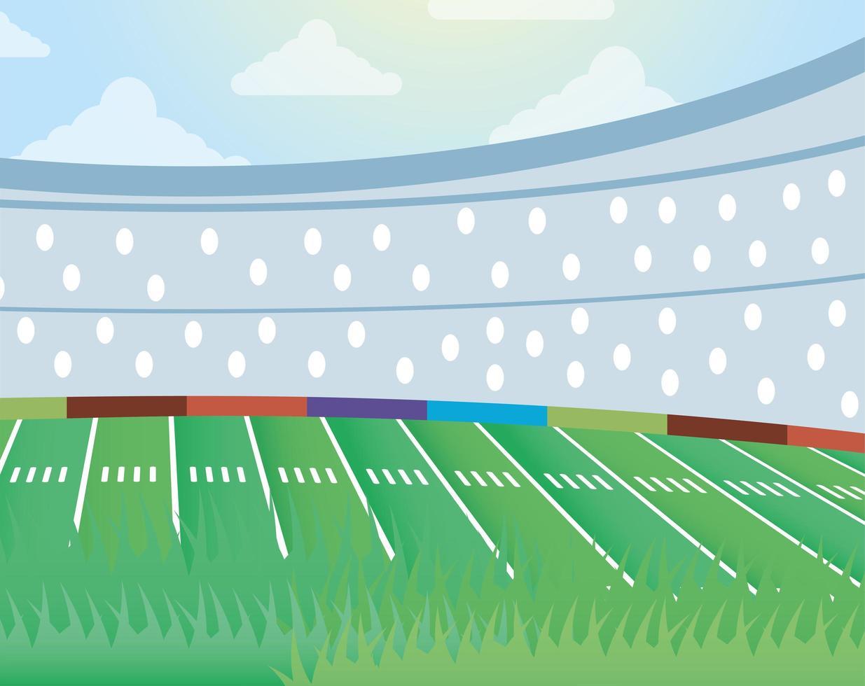 icône de scène de terrain de football américain vecteur
