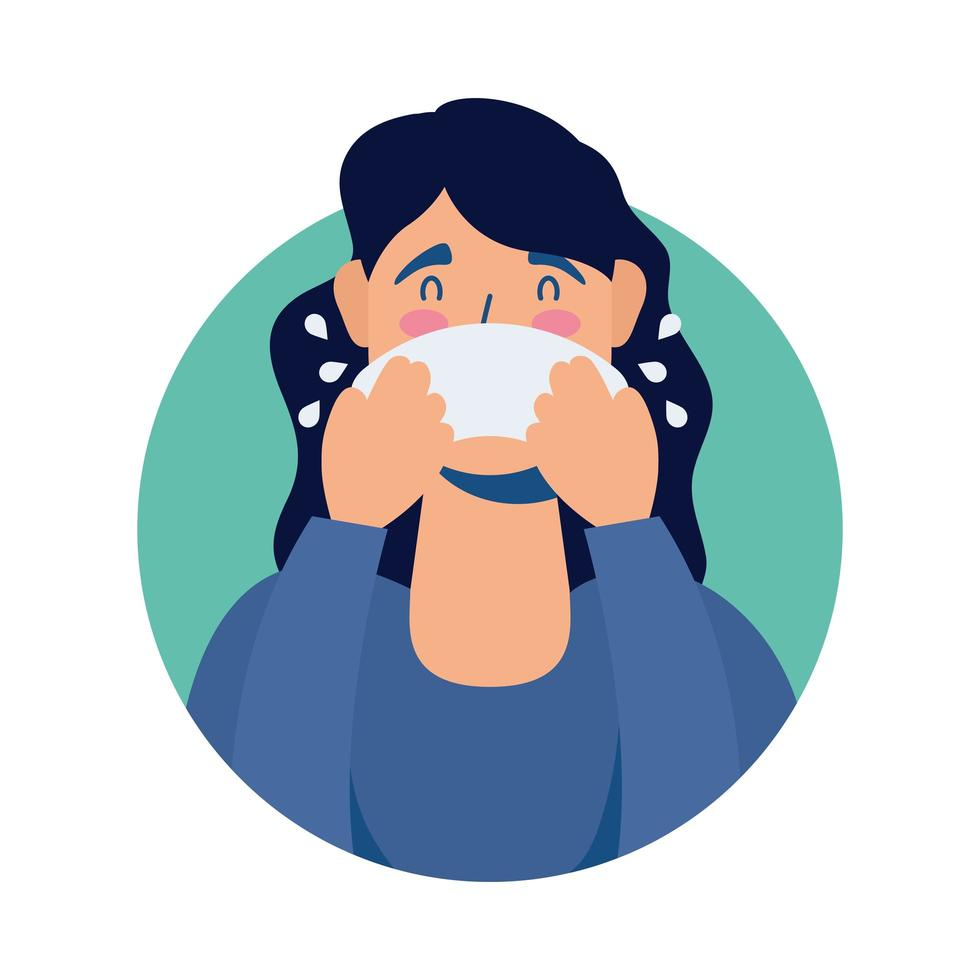 jeune femme malade avec caractère avatar nez qui coule vecteur