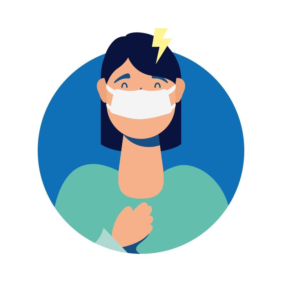 jeune femme, porter, masque médical, à, mal de tête vecteur