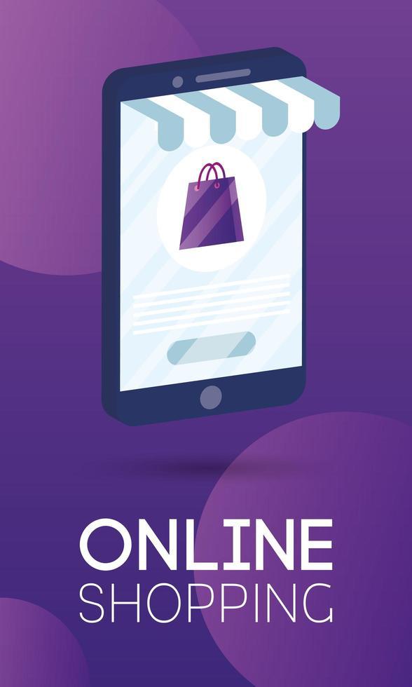 shopping en ligne avec un sac en papier dans un smartphone vecteur