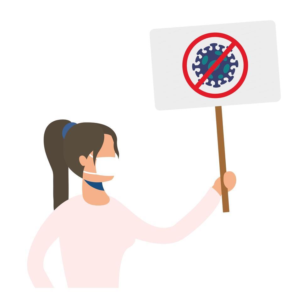 jeune femme, porter, masque médical, à, protester, bannière vecteur