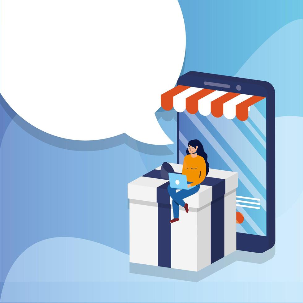 Shopping en ligne avec une femme utilisant un ordinateur portable et un smartphone vecteur