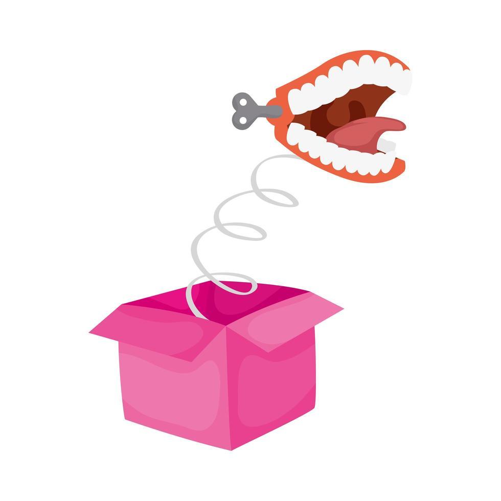 boîte surprise avec accessoire de jour de fous de bouche vecteur