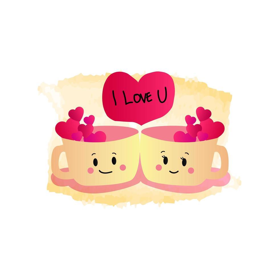 tasses à thé romantiques pour la Saint-Valentin vecteur