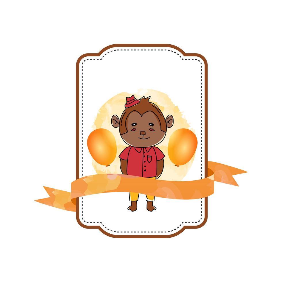 étiquette de bébé singe animal avec ruban vecteur