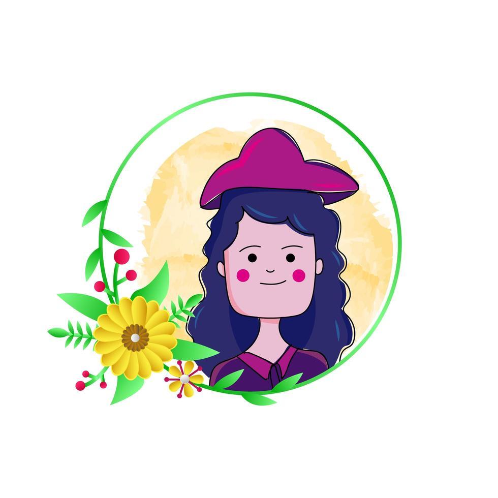 fille avec motif floral rond vecteur
