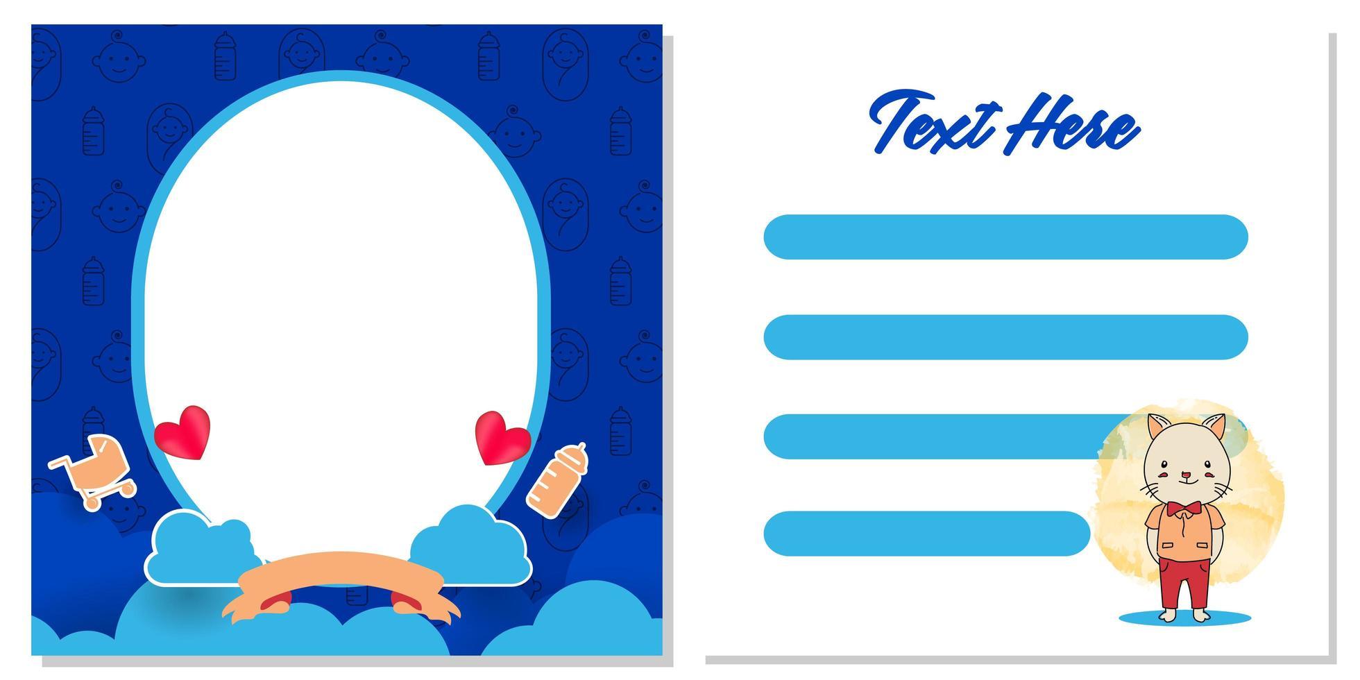 conception de modèle de carte de voeux de douche de bébé pour l'impression vecteur