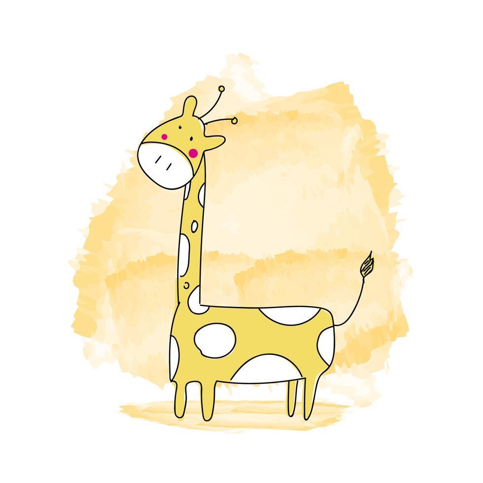girafe animal dessin animé aquarelle dessiné à la main vecteur