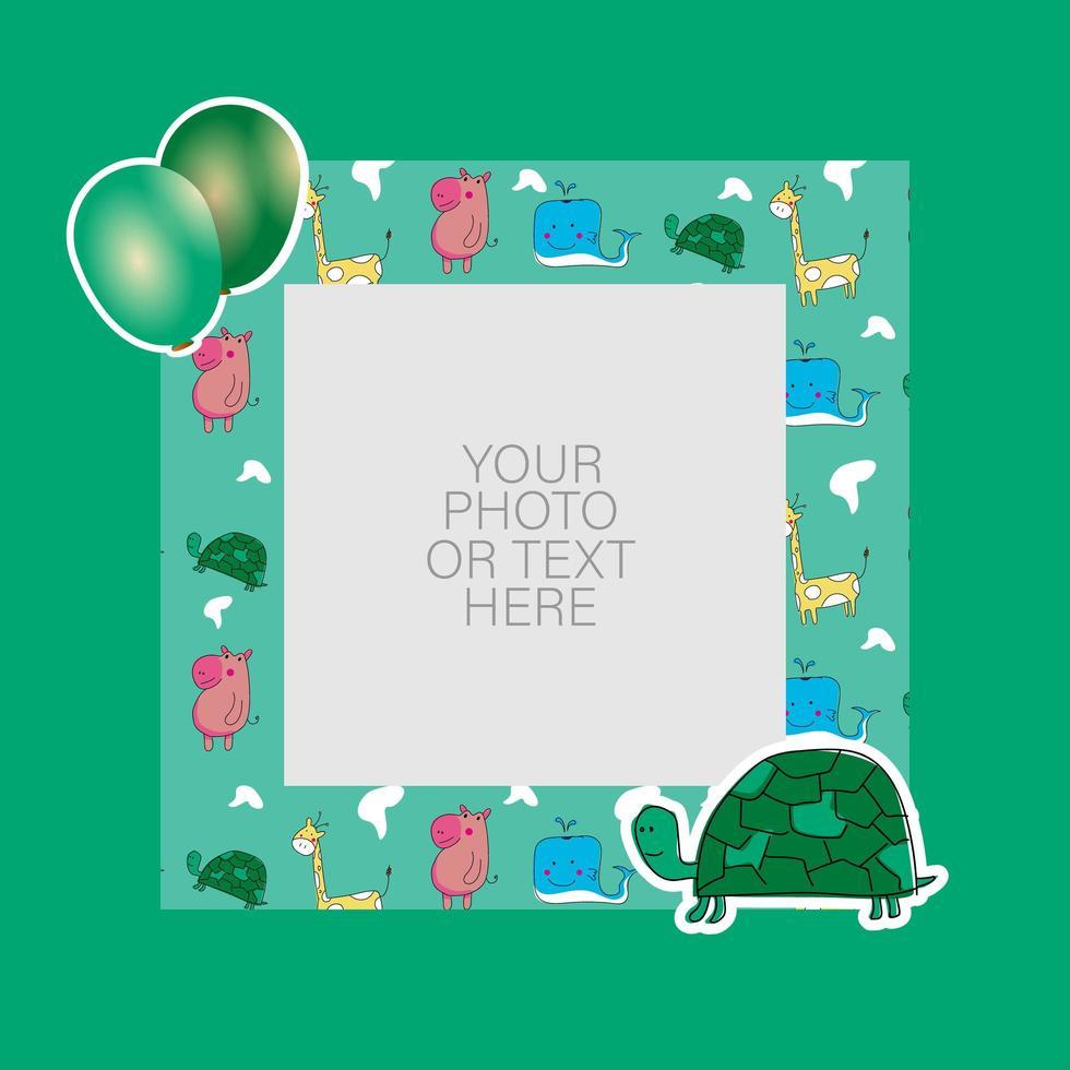 cadre photo avec dessin tortue et ballons vecteur