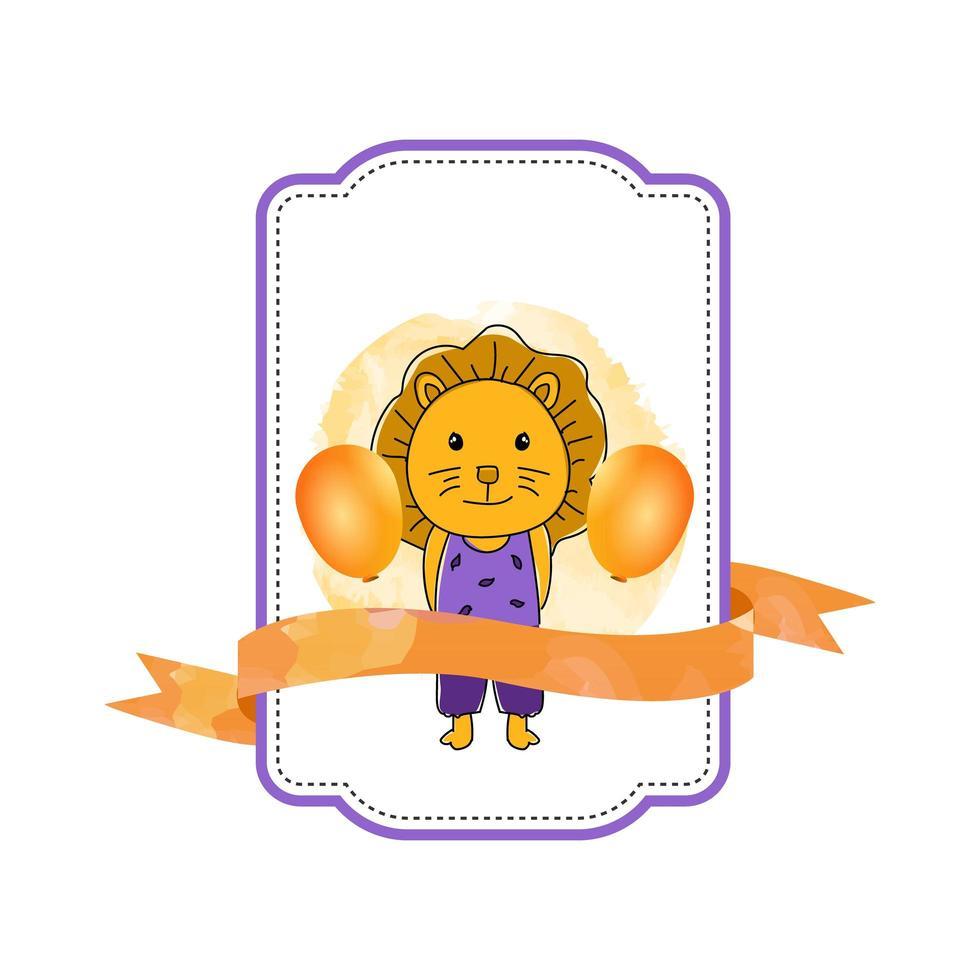 étiquette bébé lion animal avec ruban vecteur