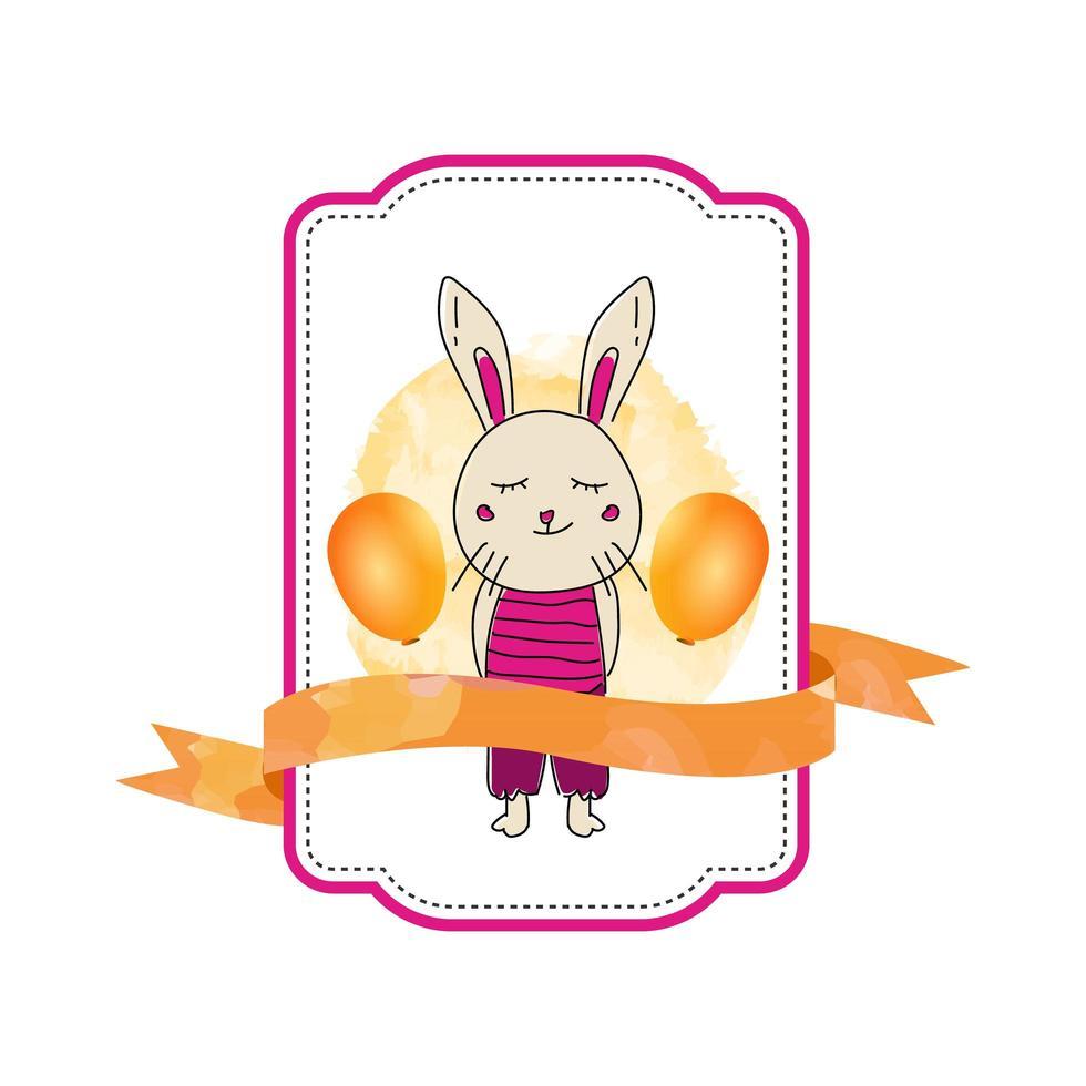 étiquette de lapin bébé animal avec ruban vecteur