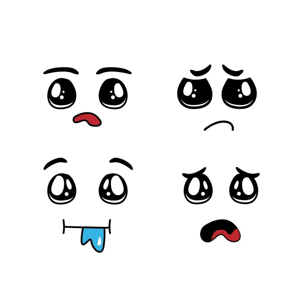 ensemble de visages de dessin animé drôle avec différentes émotions vecteur