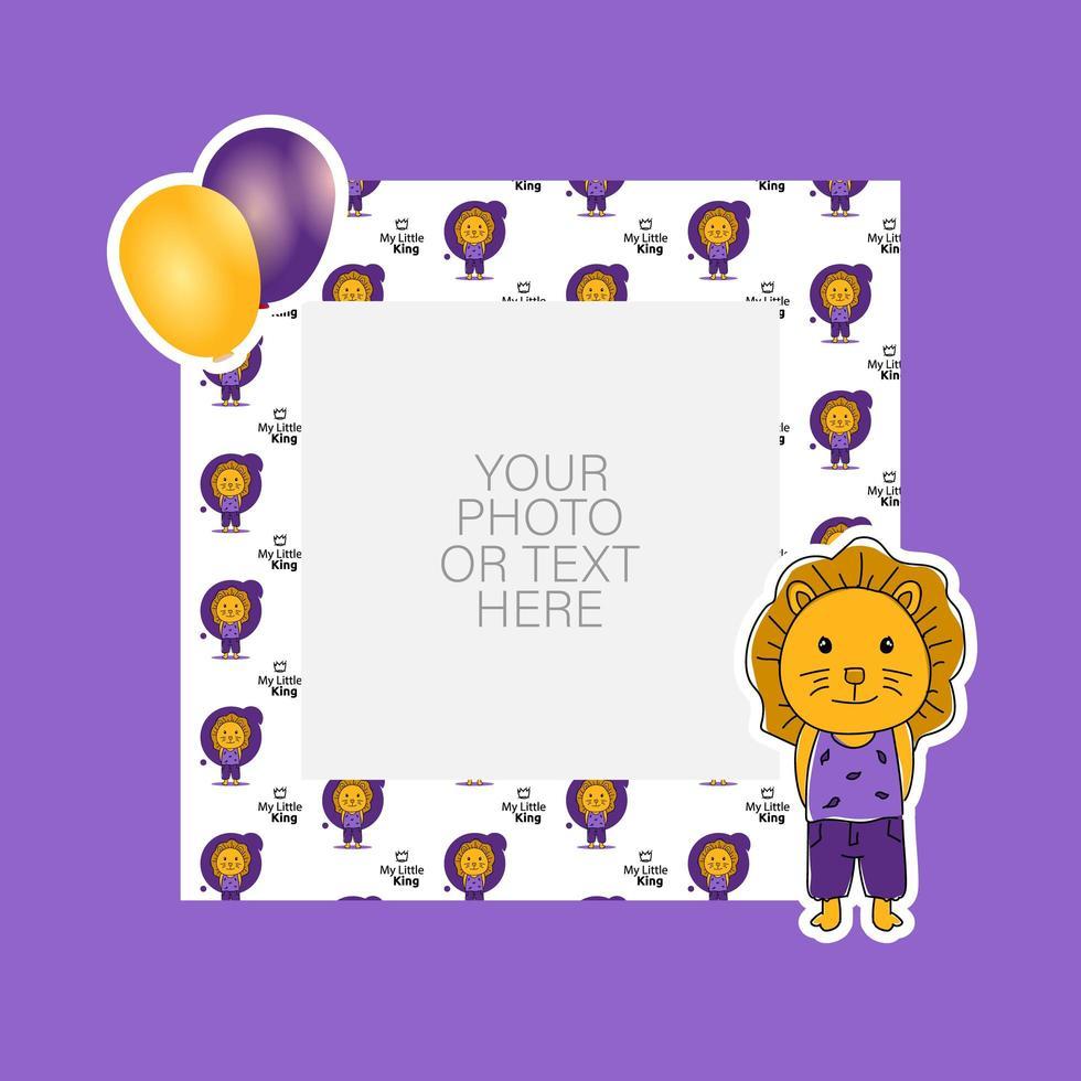 cadre photo avec dessin animé lion et ballons vecteur