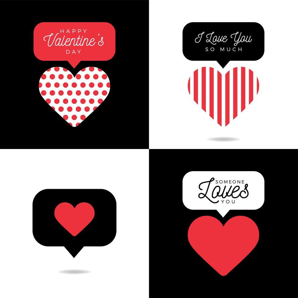 quatre belle carte saint valentin coeur rouge avec inscription set vecteur