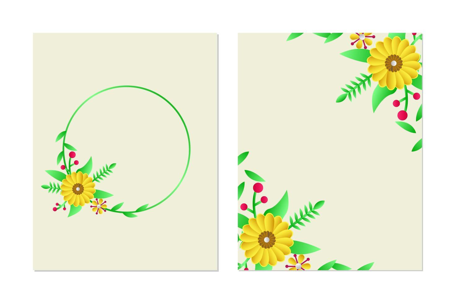 ensemble de conception de modèle de carte de voeux floral vecteur