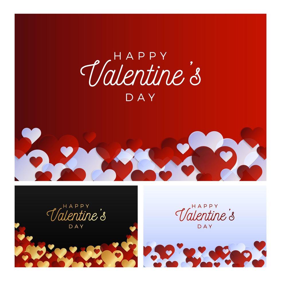 amour bannière ensemble de la saint-valentin vecteur