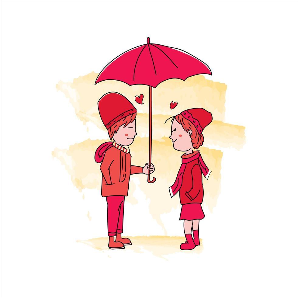 doodle d'un couple romantique vecteur