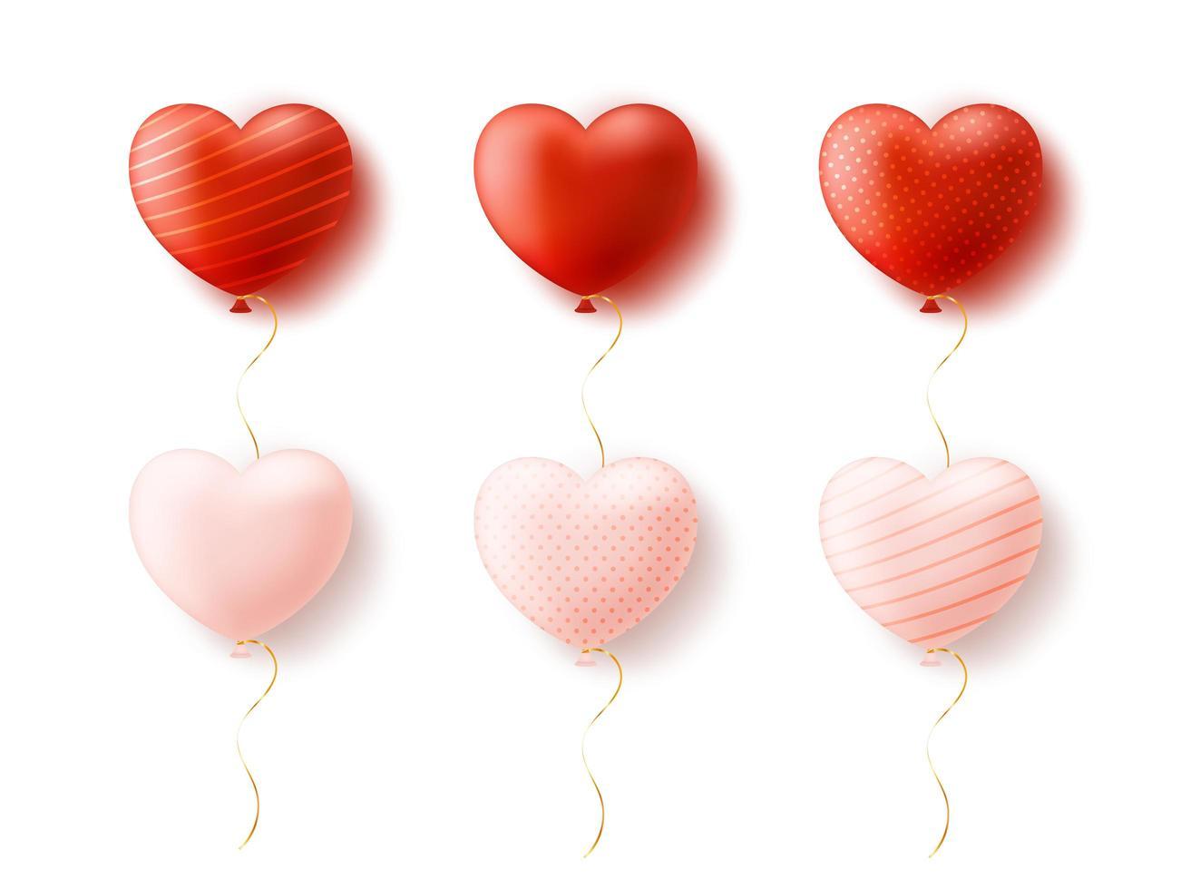 ensemble de formes de coeur ballon isolé sur fond blanc vecteur