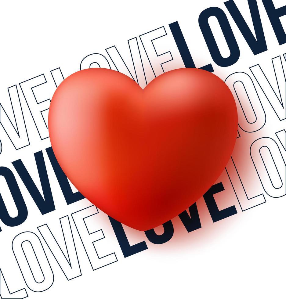 coeur rouge avec illustration vectorielle de texte amour vecteur